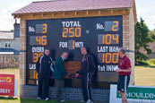 A completed custom electronic cricket scoreboard.